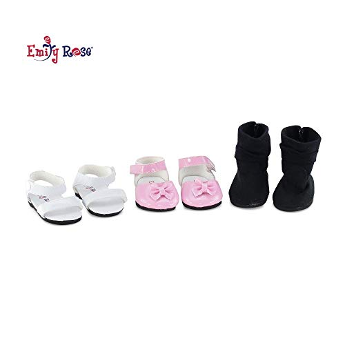 Emily Rose 14 Inch Doll Clothes| Value Pack Doll Shoes, Including Pink Dress Shoes, White Sandals and Black Boots |Fits 14
