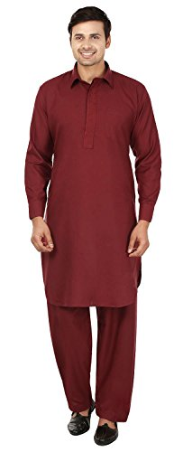 MapleClothing Pattani Kurta Pajama Set Parti Indienne Wear Homme (Bordeaux, XL)