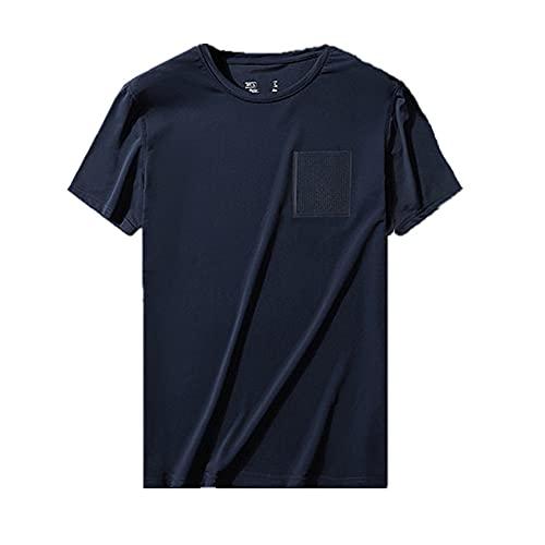 N\P Verano de hielo de seda de los hombres resto de gran tamaño ropa deportiva hueca de secado rápido camiseta de manga corta cuello redondo, Azul 3, L