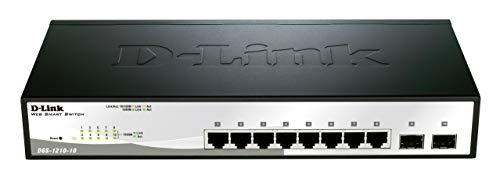 D-Link DGS-1210-10 10-Port Gigabit Smart Switch (8 x 10/100/1000 Mbit/s Base-T-Ports, 2 x 100/1000 Mbit/s SFP-Ports)
