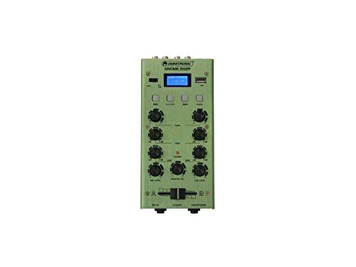 OMNITRONIC GNOME-202P Mini-Mixer grün | 2-Kanal-DJ-Mixer mit Bluetooth und MP3-Player im Miniaturformat | Regelbarer Mikrofoneingang/Kopfhörerausgang über 6,3-mm-Klinke