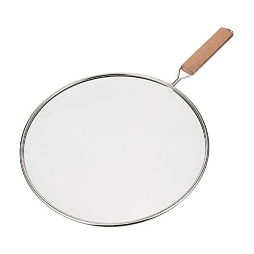 Hemoton Splatter de rejilla de acero inoxidable con mango de madera, filtro de malla de aceite, tapa para ollas de ebullición, sartenes de color plateado