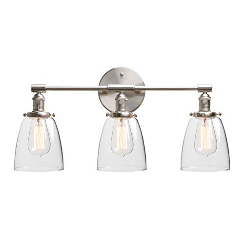 Phansthy Industrial Wall Sconce 3 Light Brushed Nickel Wall Lamp with 5.6 Inches Dome Clear Glass Canopy (Brushed)