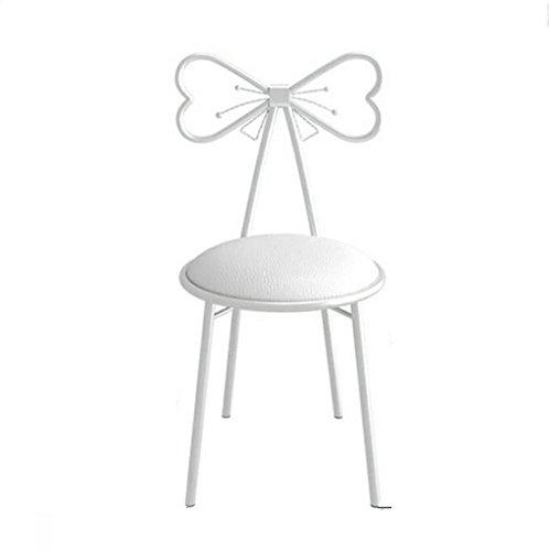 Qjifangyizi Hoher Schemel, Moderne Kreative Fliege Rückenlehne Metall Stuhl Eisen Cafe Frühstück Home Küche Make-up Stühle (Farbe : Weiß)