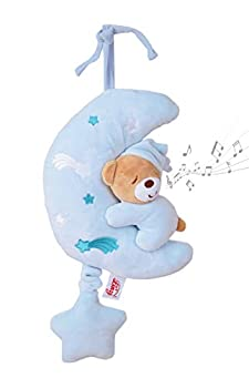 Pull String Musical Plays Twinkle Plush Bear On Moon Baby Sleep Soother Toys Blue