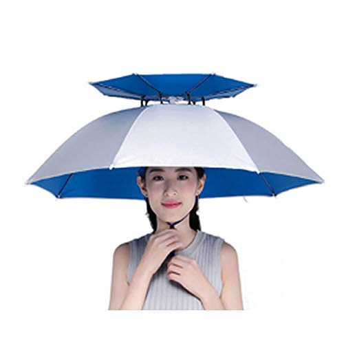 Sarada 傘 かぶる傘 アイディア商品 帽子傘 日よけ 日陰 ハンズフリー 釣 レジャー ガーデニング シルバー [並行輸入品]