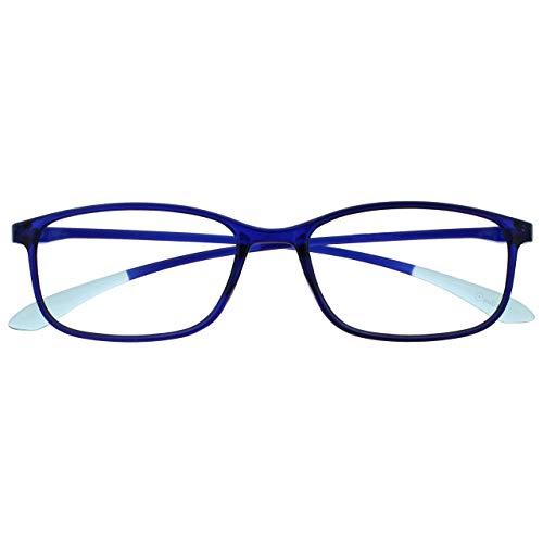 occhiali da lettura 1 50 Opulize Ice Super Leggero Occhiali Da Lettura Cristallo Blu Donna Uomo Cerniere Molla R61-3 +1