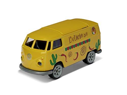Majorette Vintage Deluxe VW T1 Foodtruck, Bully, auto giocattolo a ruota libera, design esclusivo auto, pneumatici in gomma, scatola da raccolta, 7,5 cm, giallo/rosso, per bambini dai 3 anni in su