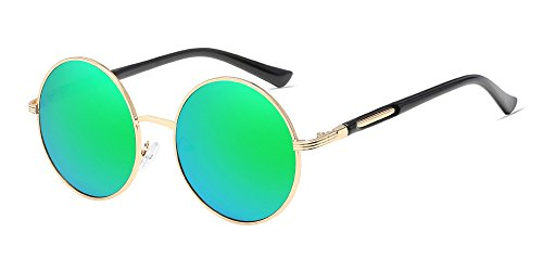 BOZEVON Retro Runde Sonnenbrille Damen - Vintage stilvoll Kreis Metallrahmen Gold-grün
