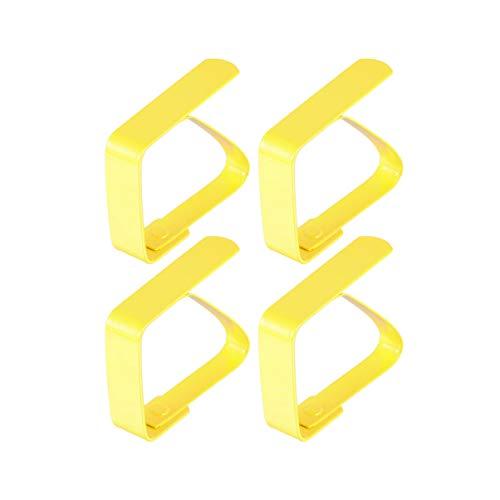 TOPBATHY 4 Stück Tischdeckenhalter Edelstahl Tischdeckenklammern Haushalts Verstellbare Tischdeckenclips für Hotel Bankett Esszimmer (Gelb)