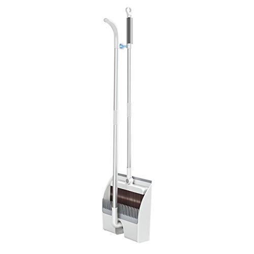 orifam Broom and Dustpan Set Upright,Magnet Adjustable Rotatable Dustpan with Long Handle,Collapsible Telescopic for Storage