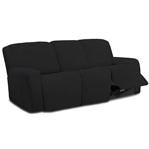 Easy-Going 8 Pieces Microfiber Stretch Sectional Recliner Sofa Slipcover Soft Fitted Fleece 3 Seats Couch Cover Washable Furniture Protector with Elasticity for Kids Pet(Recliner Sofa,Black)