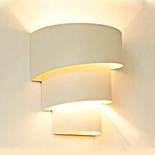 SISVIV 6W LED Applique da Parete Interno Moderno Lampada da Parete in Metallo Lampada da Muro per Camera da Letto Soggiorno Bianco Con Lampadina E27
