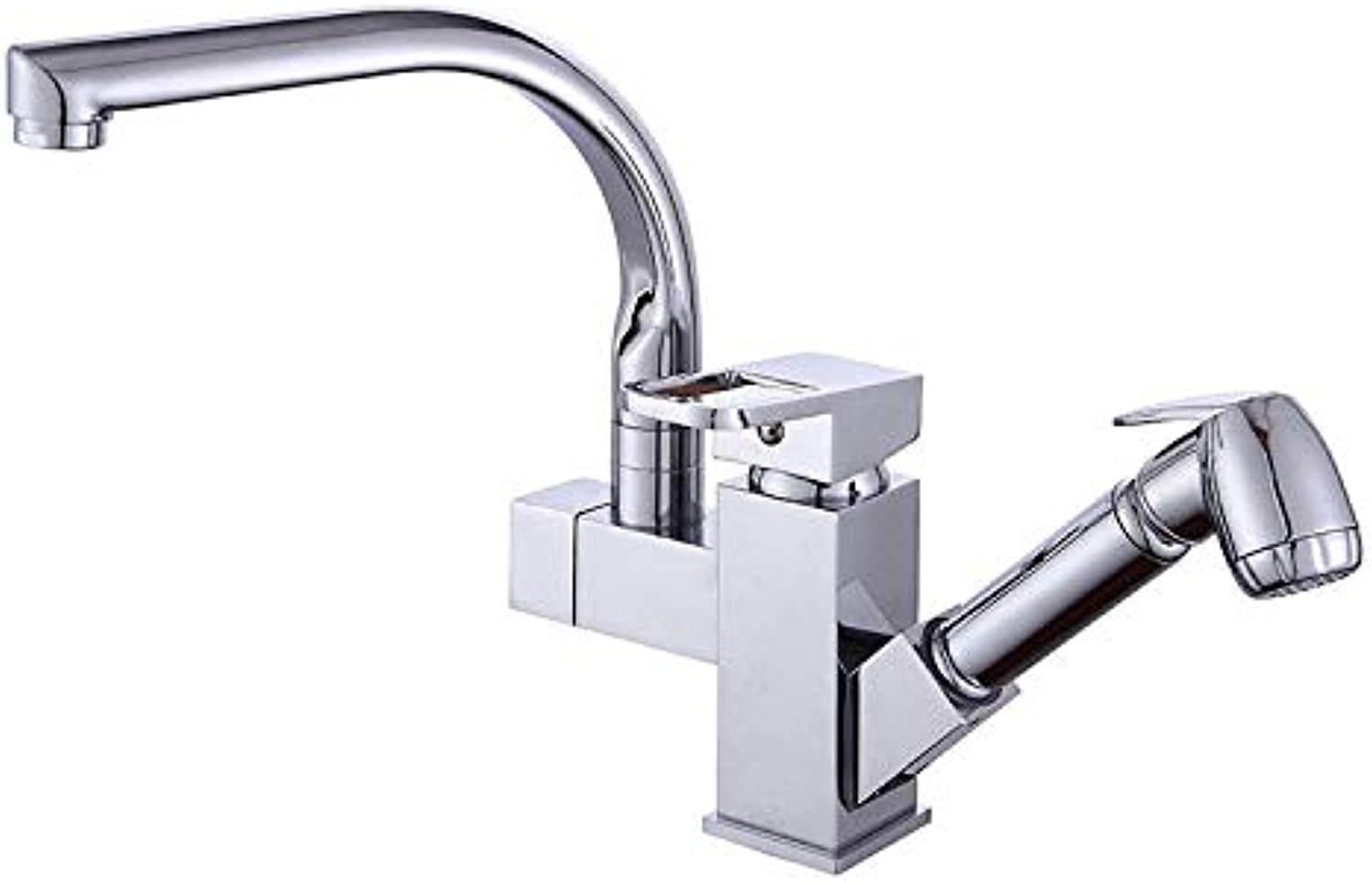 Kitchen Tap, Kitchen Sink Pull Out Mixer Taps, Swivel Spout Bathroom Basin Faucet Two water modes
