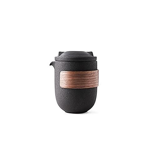 Zoo-yilch Teteras para Te Tetera de té de Viaje con infusionador de cerámica y 4 techos de cerámica, portátil con Estuche de Transporte (Negro)