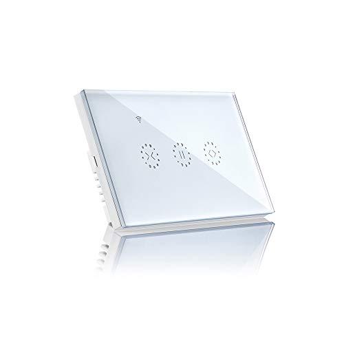 Wifi lichtschakelaar, smart lichtschakelaar voor Alexa en smartphone, touchscreen-schakelaar, spraakbediening, overbelastingsbeveiliging, draadloze wandschakelaar wit