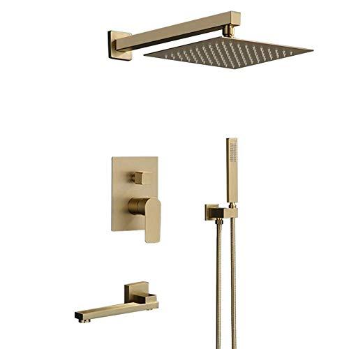 IREANJ Conjuntos de bañera ducha de mano mezclador de ducha oculto cepillado oro cascada lluvia sistema de ducha fácil instalación baño