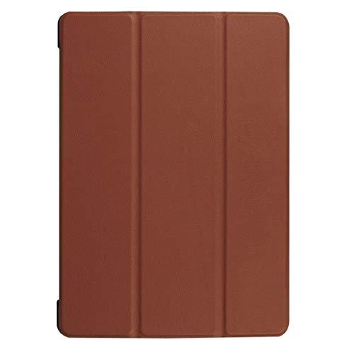 Liluyao Más Casos para Tableta Funda de Cuero con diseño Horizontal Huawei MediaPad T3 10 Custer Texture con Soporte de Tres Pliegues (Color : Brown)