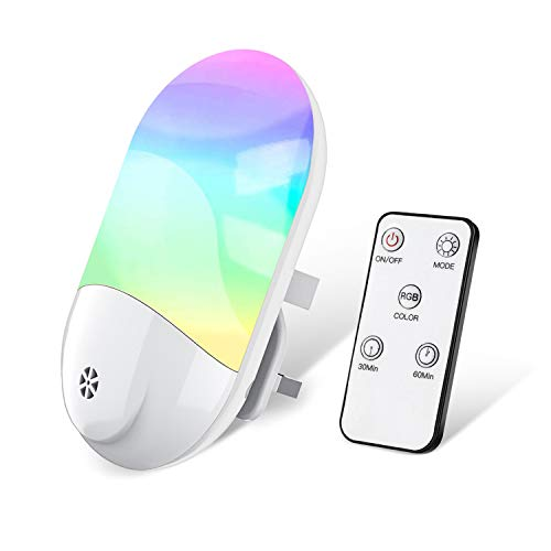 LED RGB Night Light, Night Light Plug in Wall with Dusk to Dawn Photocell Sensor, Mood Light with Smart Remote, Timing Setting and 8 Colors Switchable for Baby Room, Bedroom, Kitchen, Bathroom, Stairs