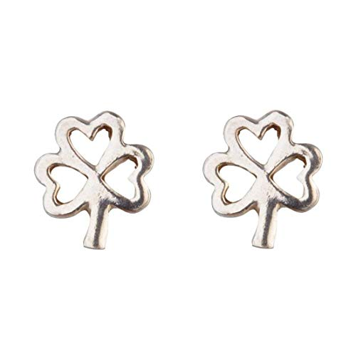 Hallmarked Sterling Silver Shamrock Outline Stud Earrings Presented In A Box