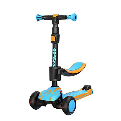 2 en 1 scooter infantil,scooter plegable de la dirección de inclinación de cubierta ultra ancha,con ruedas de PU parpadeante y 5 alturas ajustables, adecuadas para niños y niñas de 2 a 12 años,Azul