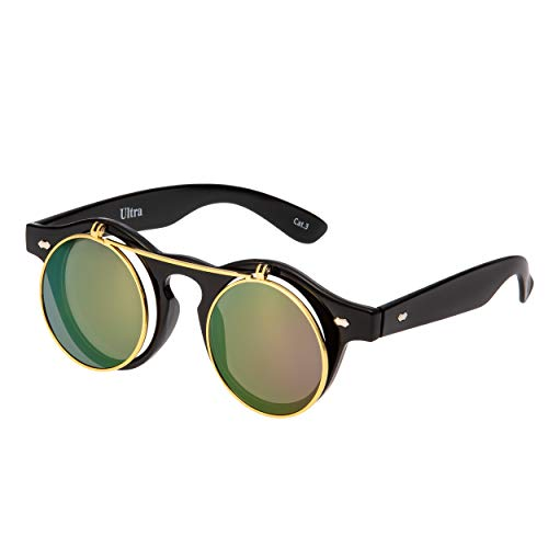Ultra Lila Linsen mit Schwarz Linsen Flip Up Ronde Steampunk Sonnenbrille Retro Frau Mann UV400 UVA Vintage Victorian Kreis Retro Sonnenbrille Steampunk Brille Sonnenbrille zum Hochklappen