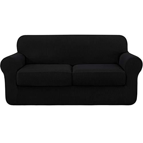 Subrtex - Funda de sofá extensible con 2 fundas de cojín de asiento, protector de sofá con reposabrazos elástico (2 plazas), color negro