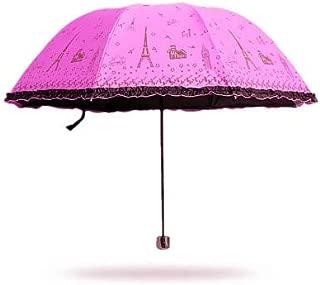 BEESCLOVER Hot Princess Tower Umbrellas Sunshade Super Umbrellas Sun Rain Umbrella Rose One Size