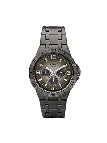 Relic Men's Garrett Quartz Stainless Steel Dress Watch, Color: Gunmetal (Model: ZR15546)