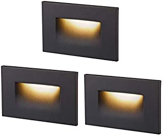 Cloudy Bay 120V Dimmable LED Step Light,3000K Warm White 3W 100lm,Indoor Outdoor Stair Light,Oil Rubbed Bronze,3 Pack