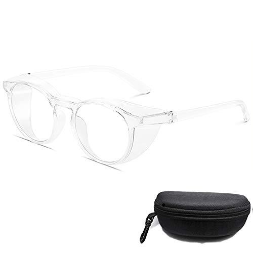 gafas de seguridad antivaho antiaranazos,Gafas protectoras luz azul para mujeres anti polen,transparentes redondas Marco de protección UV para hombres (Transparente)