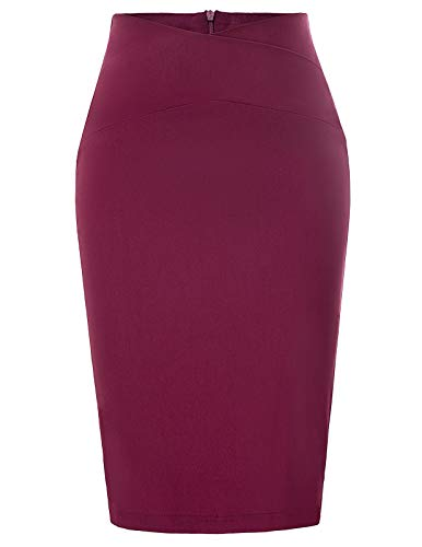 Business Office Midi Pencil Skirt for Shirt Top Wine Red Size XXL CL937-2