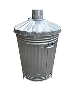 Home storage King large galvanised metal fire bin garden incinerator with lid for outdoor use. from