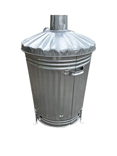 Home Storage King 90 Litre UK MADE Extra Large Galvanised Metal Incinerator Fire Burning Bin with HEAVY DUTY DURABLE UK MADE