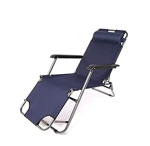 QAZW Sillas de Salón Portátiles Sillas Reclinables Plegables Sun Patio Chaise Chair Piscina Césped,Navy