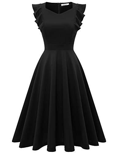 Bbonlinedress Abendkleider Rockabilly Kleid Knielang 1950er Vintage Retro Kleider Faltenrock Damen Cocktailkleid Black S
