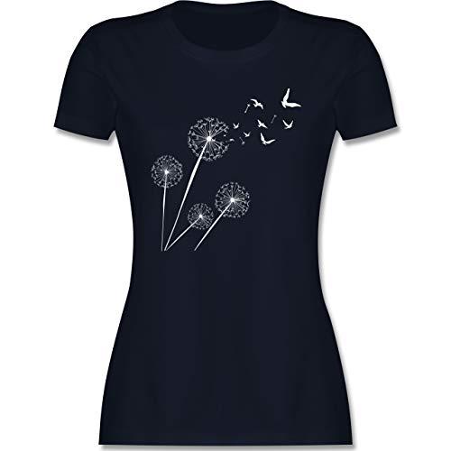 Statement - Pusteblume Vögel - S - Navy Blau - Shirt Damen Pusteblume - L191 - Tailliertes Tshirt für Damen und Frauen T-Shirt