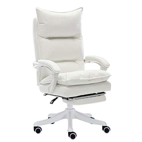 BIAOYU Silla de oficina giratoria para el hogar, ergonómica, cómoda, con respaldo sedentario, para juegos, silla de ordenador con reposabrazos ajustable (color: blanco crema, tamaño: sin almohadillas)