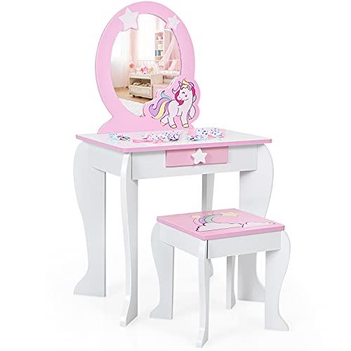 COSTWAY Set Toletta per Bambini con Sgabello Specchio e Cassetti, Toeletta per Bambini in Legno, Rosa & Bianco 89x49,5x35,5cm (Bianco)