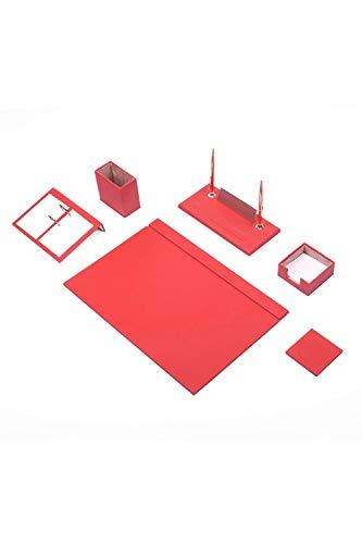 Calme-D - Juego de 8 protectores de escritorio (49 x 34 cm, piel sintética, 10 colores a elegir), color rojo
