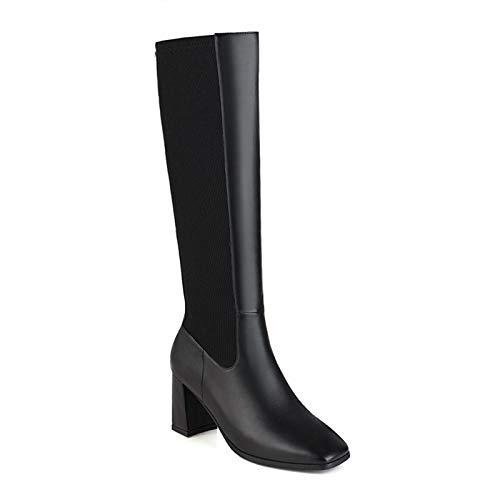 HKIASQ Moda Botas Altas hasta La Rodilla Zapatos De Mujer Otoño Invierno Botas Altas De Mujer Cómodas Zapatos Largos De Mujer Estirados Grandes,Negro,42EU