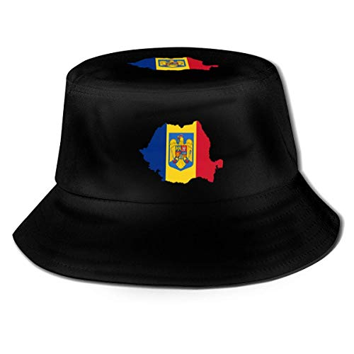 gii6LMLMLFGHLBB Unisex Romania Map Fisherman's Hut Fashion Bucket Hut Fischerkappe Men's Women's Summer Outdoor Visor Sun Hut Black