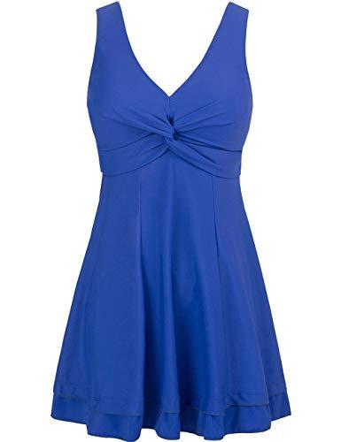 Wantdo Women's High Waisted Swimsuit Cover One Piece Bikini Swimwear Sapphire Blue US 26W-28W