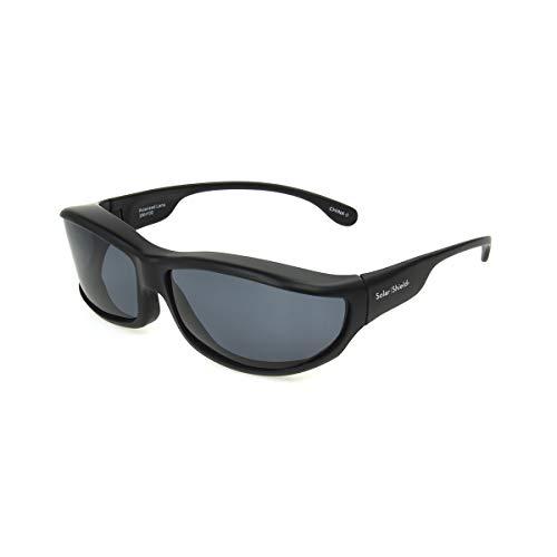 Dioptics Women's Solar Shield-Zion Polarized Panorama Fits Over Sunglasses, Black/Grey, 82 mm