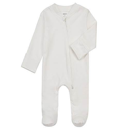 Baby Footed Pajamas with Mitten Cuffs - Unisex Newborn 2 Ways Zipper Cotton Footie Onesies Infant Solid Color Sleep 'n Play Jammies (Creamy-White, Newborn)