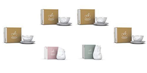 Fiftyeight 6er Set / 4 x Milchkaffeetasse mit Untertasse und Kanne Gut Drauf und Milchkännchen Drollig