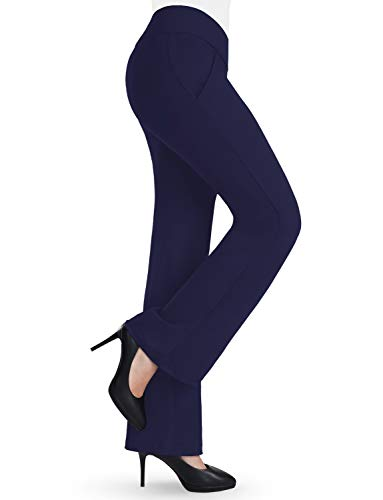 Bamans Damen Schlaghose Elegante Hosen Lang Anzughose Stretch Jogginghosen Hoher Bund Yogahose Locker Bootleg Skinny Flare-Hose Blau M