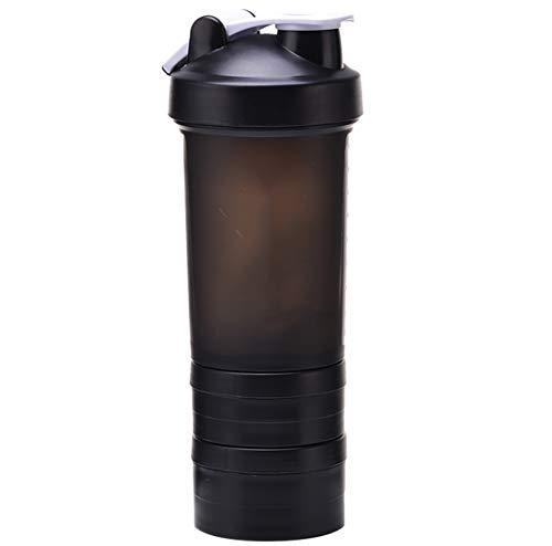 CHUANGJIE schudden voor Rüttler-fitness-sport-schelp-proteïne-poeder-melkshake-schaal drie lagen plastic schalen tornado-schil roerbal zwart