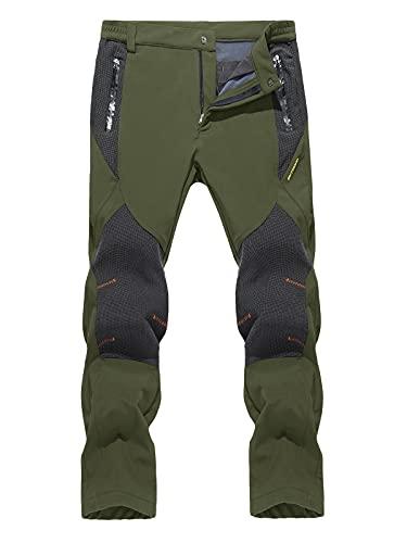 TACVASEN Men's Winter Pants Waterproof Hiking Snow Ski Fleece Lined Insulated Pants Green, 38