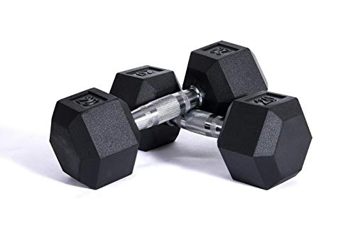 ZYOMY Barbell Coated Hex Dumbbell Weights, Free Weights Dumbbells Weight Set, Hex Rubber Dumbbell with Metal Handles, Pair of 2 Heavy Dumbbells Choose Weight (5lb,10lb,15Lb,20lb)